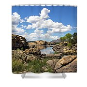 Rocky Shore And Pristine Water Shower Curtain