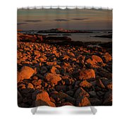 Rocky Shoreline And Islands At Sunset Shower Curtain