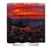 Rocky Shoreline At Sunset Shower Curtain