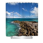 Rocky Shoreline On The Beach At Atlantis Resort Shower Curtain
