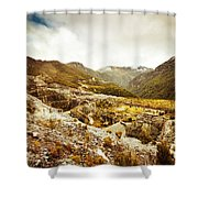 Rocky Valley Mountains Shower Curtain