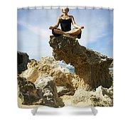 Rocky Yoga Shower Curtain