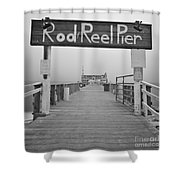 Rod And Reel Pier In Fog In Infrared 53 Shower Curtain