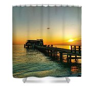 Rod And Reel Pier Sunrise 2 Shower Curtain