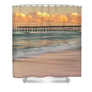 Rodanthe Fishing Pier Sunset On The Outer Banks In Carolina Panorama Shower Curtain