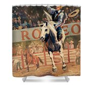 Rodeo   Bareback Bronc Painting Shower Curtain