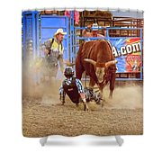 Rodeo Rider Down Shower Curtain