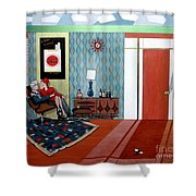 Roger Sterling And Joan Sitting In An Eames Shower Curtain