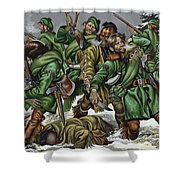 Rogers Rangers Fought A Hand-to-hand Battle In The Snow With The French And Indians Shower Curtain