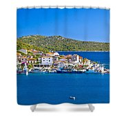 Rogoznica Harbor And Waterfront View Shower Curtain