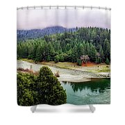 Rogue River Bend Pano Shower Curtain