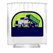 Roll-off Truck Side Up Half Circle Retro Shower Curtain