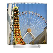 Roller Coaster And Ferris Wheel Shower Curtain
