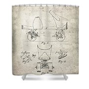 Roller Skate Patent - Patent Drawing For The 1882 F. A. Combes Roller Skate Shower Curtain