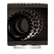 Rollin' Gears Black And White Shower Curtain