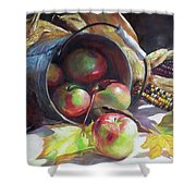 Rolling Apples Shower Curtain