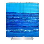 Rolling Blue, Triptych 2 Of 3 Shower Curtain