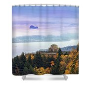 Rolling Fog At Columbia River Gorge In Fall Shower Curtain