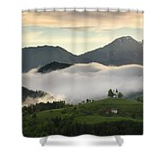 Rolling Fog At Sunrise In The Skofjelosko Hills With St Thomas C Shower Curtain