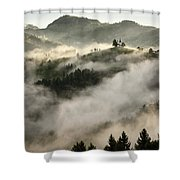 Rolling Fog At Sunrise In The Skofjelosko Hribovje Hills With St Shower Curtain