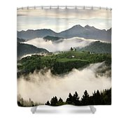 Rolling Fog At Sunrise With Mountains Of Kamnik Savinja Alps At  Shower Curtain