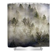 Rolling Fog In Sandy River Valley Shower Curtain