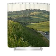 Rolling Hills Cradle A Winding Road Shower Curtain