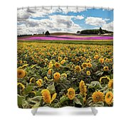 Rolling Hills Of Flowers In Summer Shower Curtain
