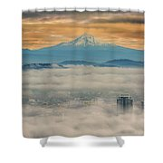 Rolling Low Fog Over City Of Portland Shower Curtain