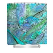 Rolling Patterns In Teal Shower Curtain