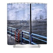 Rolling Waves In Winter At Grand Haven Shower Curtain
