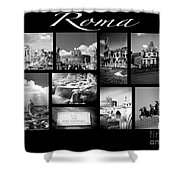Roma Black And White Poster Shower Curtain