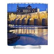 Roman Bridge On Guadalquivir River At Dawn Shower Curtain