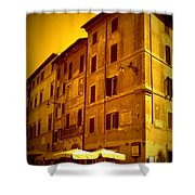 Roman Cafe With Golden Sepia 2 Shower Curtain