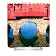 Roman Style Bridge On Red Sea Shower Curtain