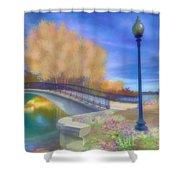 Romance At Elizabeth Park Bridge Shower Curtain