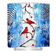 Romance In The Snow Shower Curtain