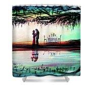 Romance Under The Oaks Shower Curtain