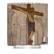 Romanesque Abbey Crucifix Shower Curtain
