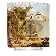 Romantic Garden Scene Shower Curtain by Hubert Robert