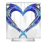 Romantic Heart Art - Big Blue Love - Sharon Cummings Shower Curtain by Sharon Cummings
