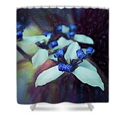 Romantic Island Lilies In Blues Shower Curtain