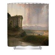 Romantic Landscape With A Temple Shower Curtain