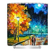 Romantic Night 2 - Palette Knife Oil Painting On Canvas By Leonid Afremov Shower Curtain