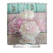 Paris Peonies Floral Books Art - Pink And Aqua Peonies Books Decor - Shabby Chic Peonies  Shower Curtain