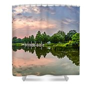 Romantic Pond In Park In Hamburg Shower Curtain