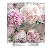 Romantic Shabby Chic Pastel Pink Peonies Bouquet - Romantic Pink Peony Flower Prints Shower Curtain