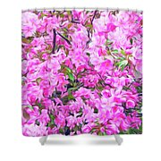 Romantic Skies Apple Blossoms  Shower Curtain