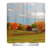 Romantic Skies Autumn Farm Shower Curtain
