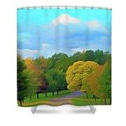 Romantic Skies Autumn Road Shower Curtain